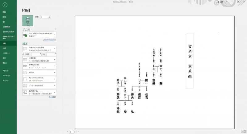 家系図を印刷する