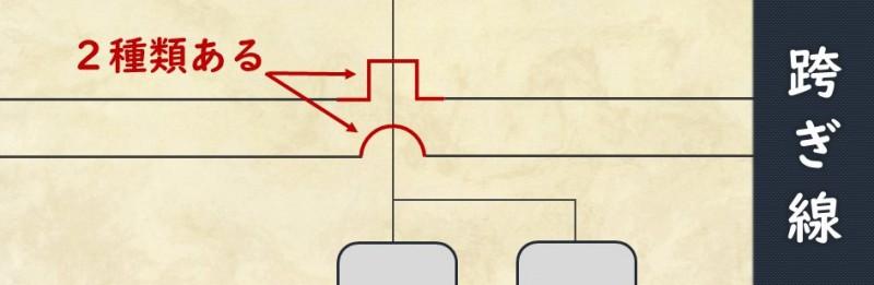 跨ぎ線の書き方の見本
